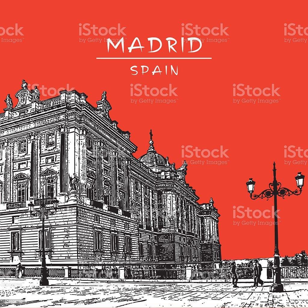 Madrid, Royal Palace. vector art illustration