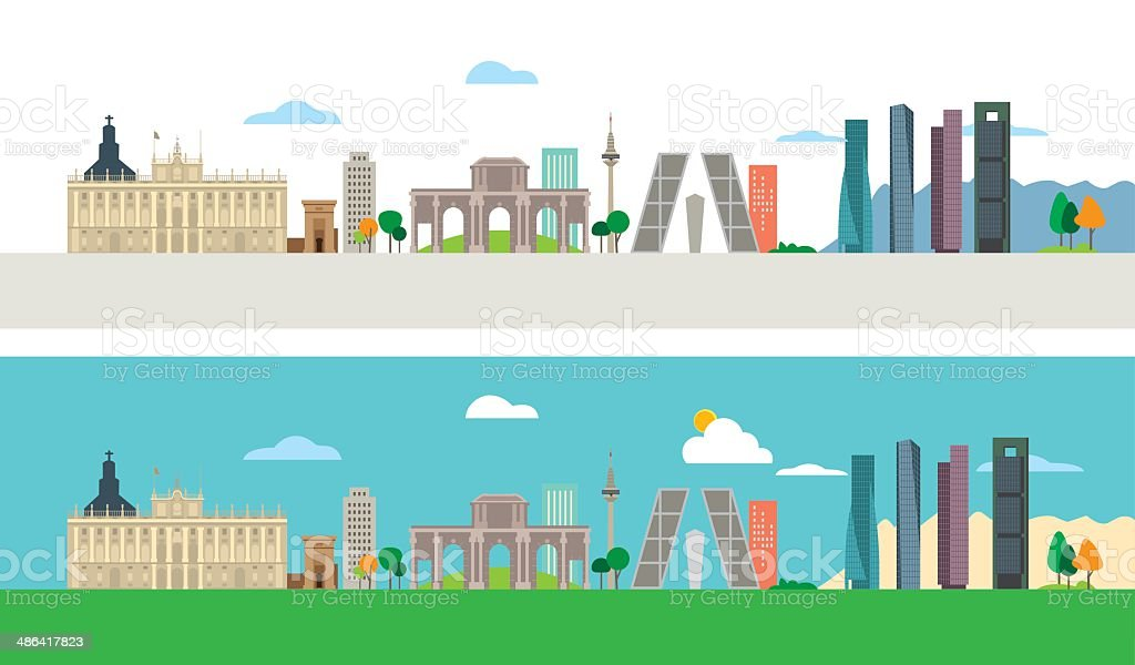 Madrid Skyline vector art illustration