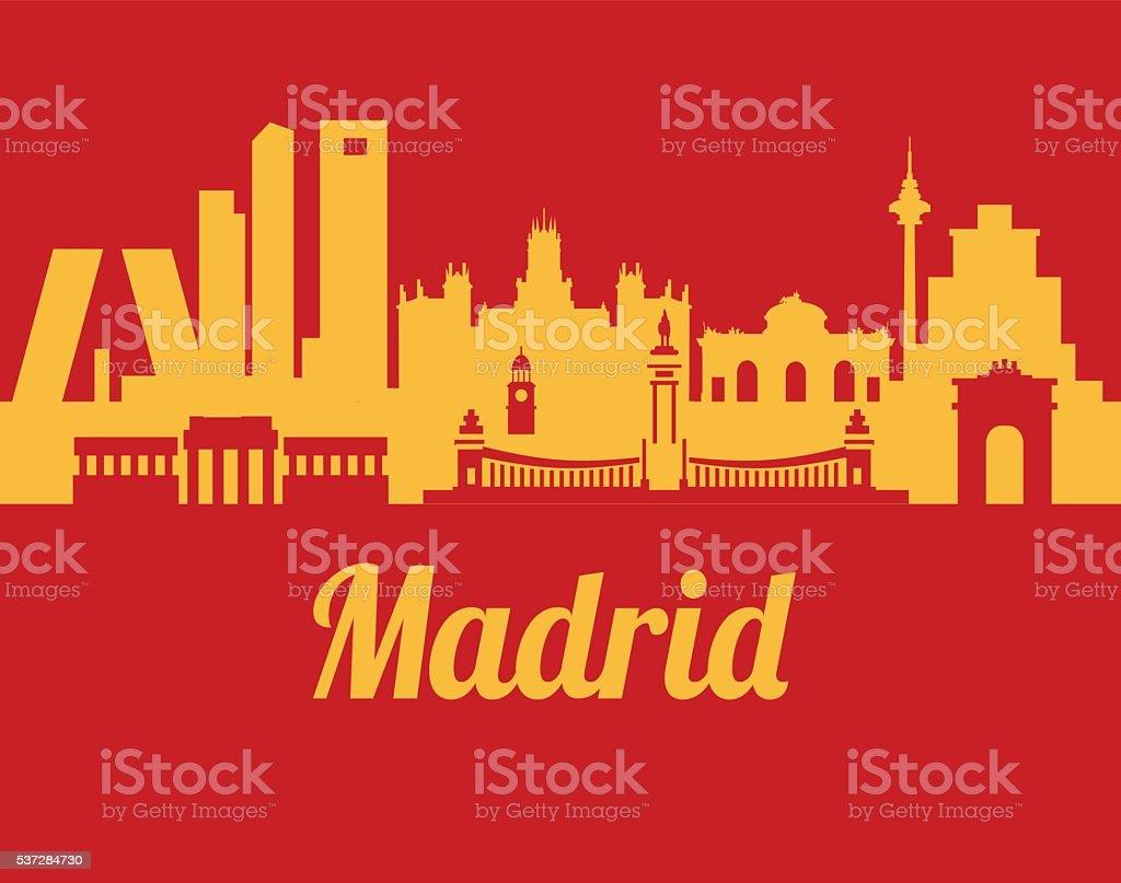 Madrid Skyline vector art illustration