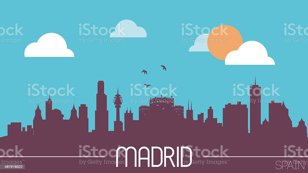 Madrid Spain skyline silhouette vector art illustration