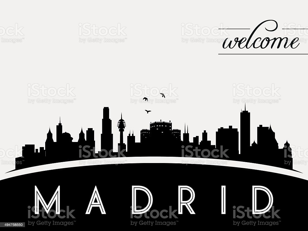 Madrid Spain skyline silhouette vector illustration vector art illustration