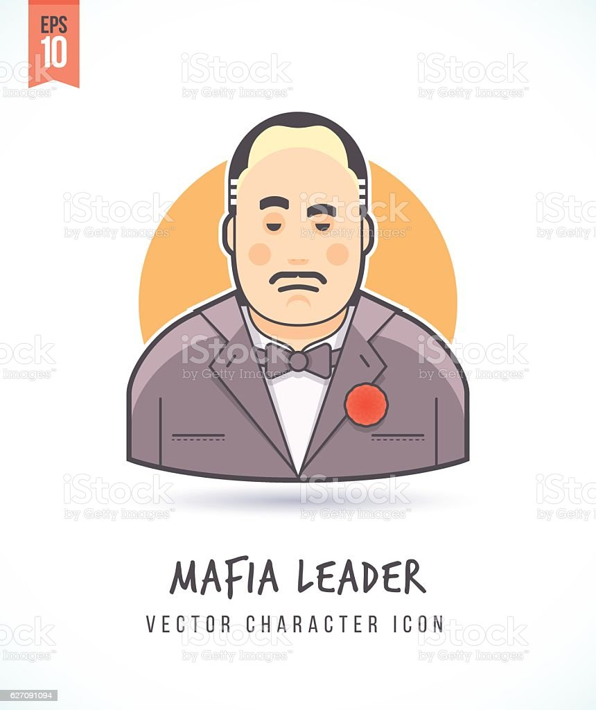 Mafia boss illustration People lifestyle and occupation vector art illustration