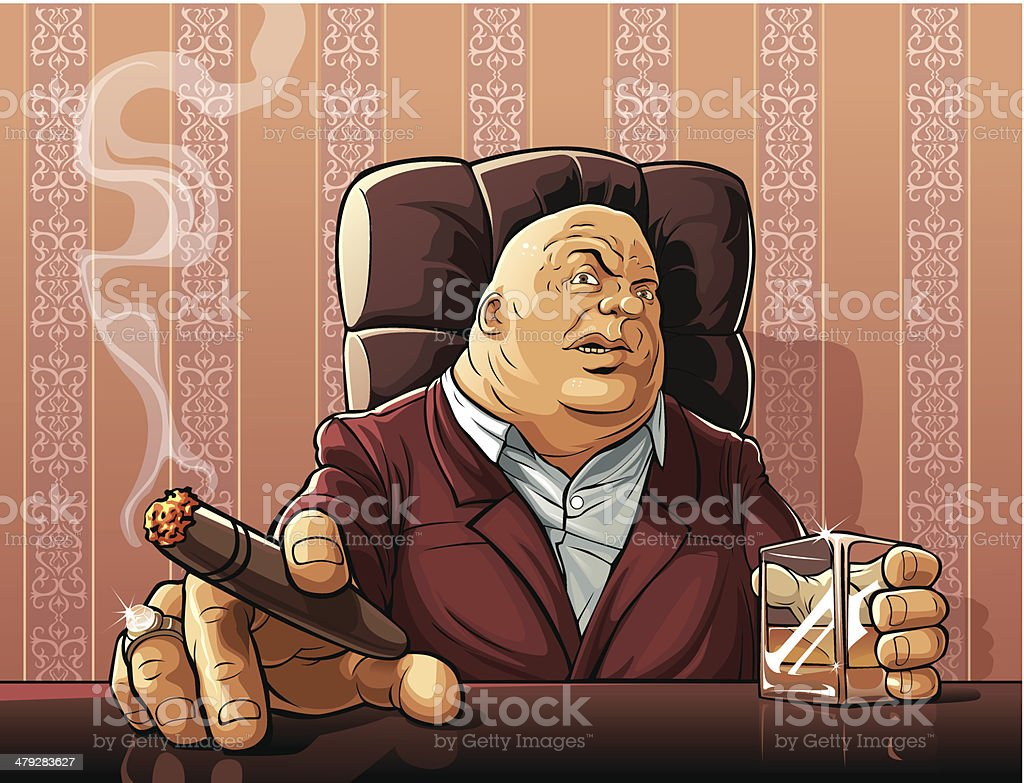 Mafia boss vector art illustration