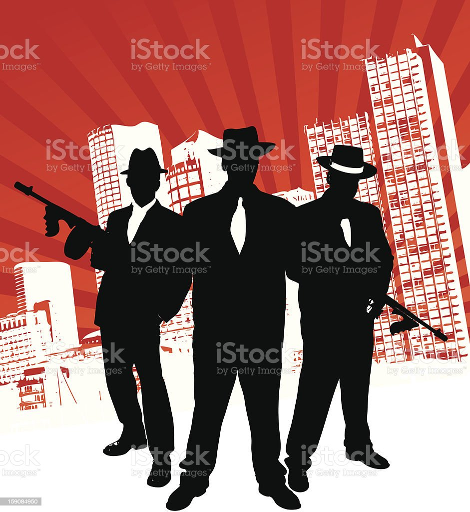 Mafia Gang vector art illustration