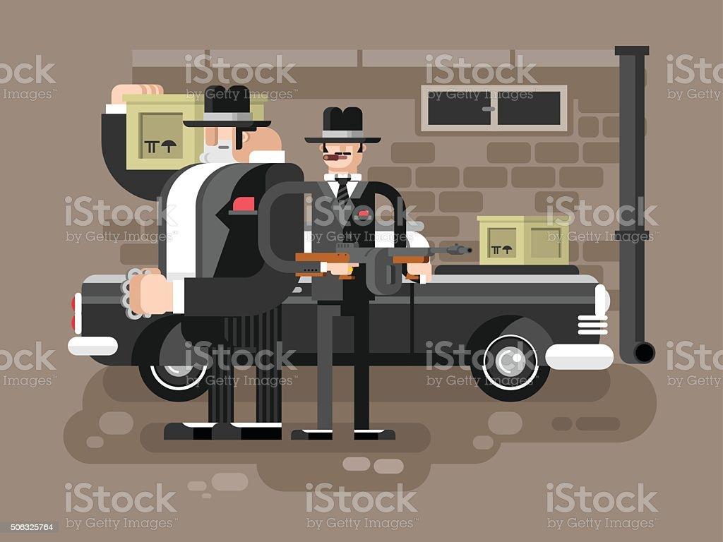 Mafia man character vector art illustration