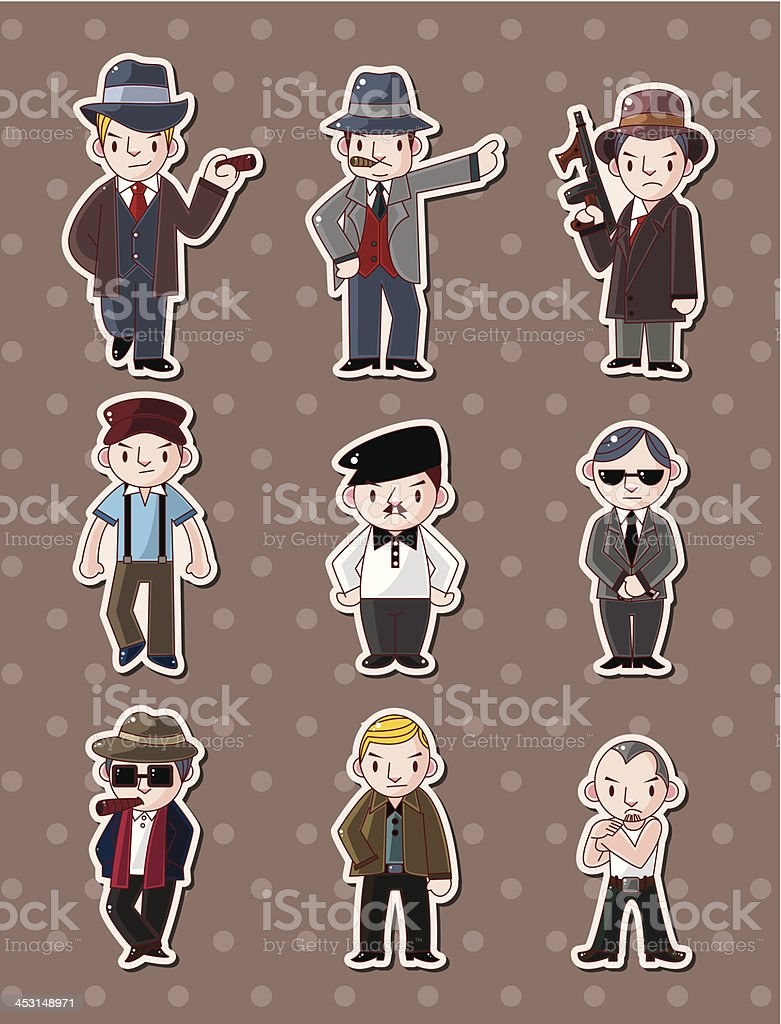 mafia stickers vector art illustration