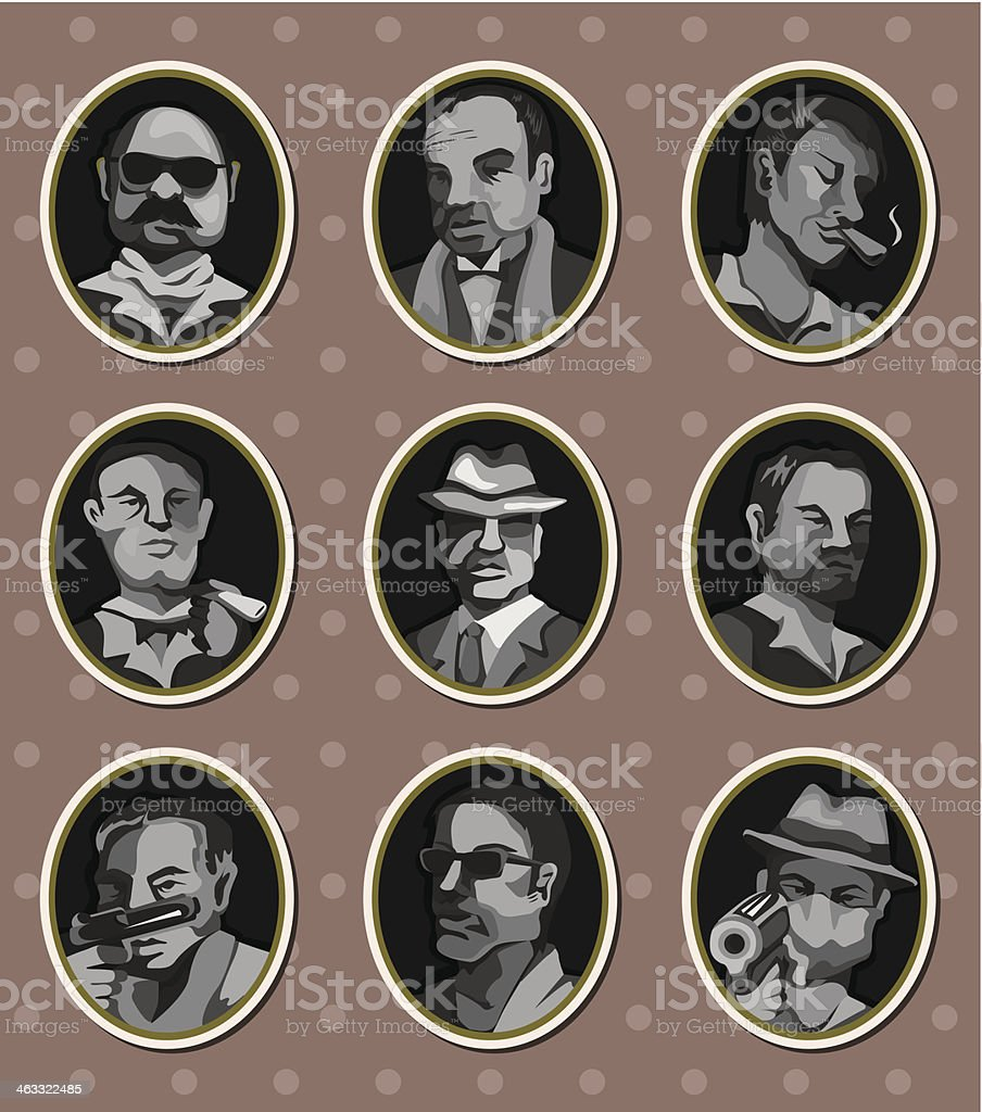 mafia stickers vector art illustration