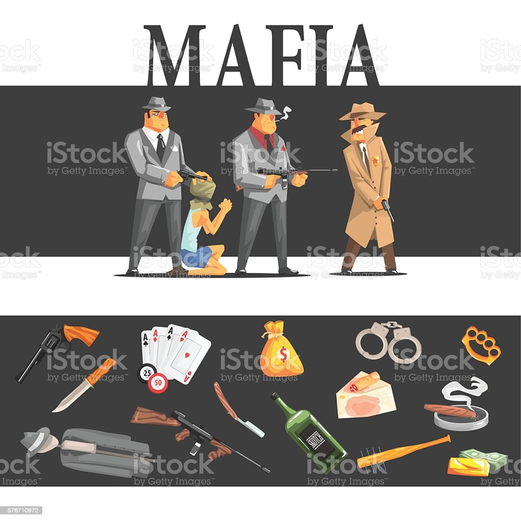 Mafia Taking Hostage And Their Equipment vector art illustration