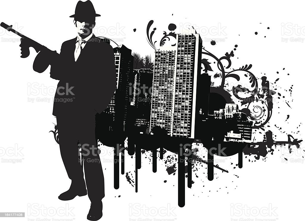 Mafia Town vector art illustration