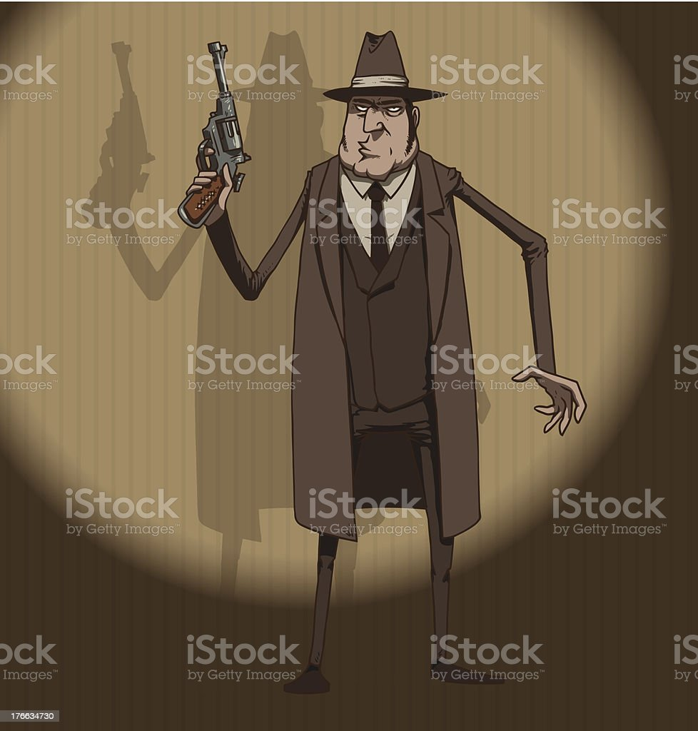 Mafiosi with a gun vector art illustration
