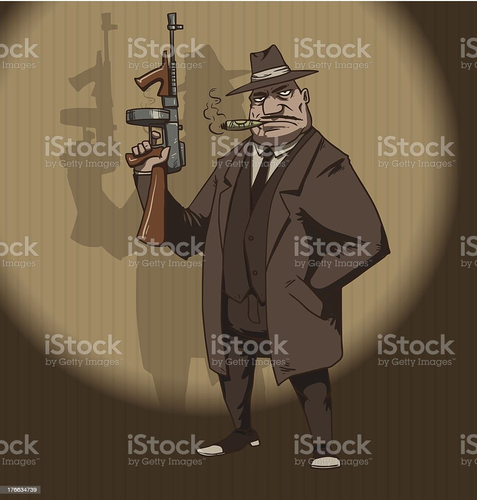 Mafiosi with a machinegun vector art illustration