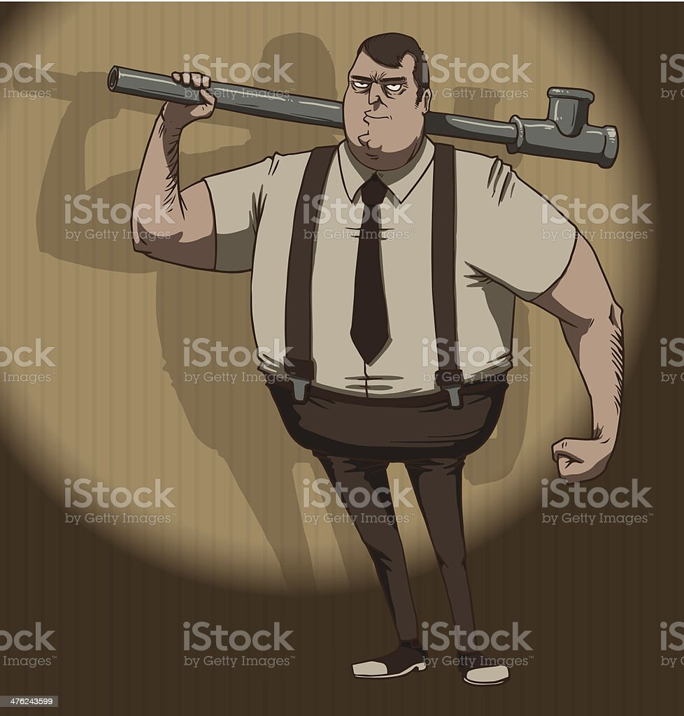 Mafiosi with a piece of pipe royalty-free stock vector art