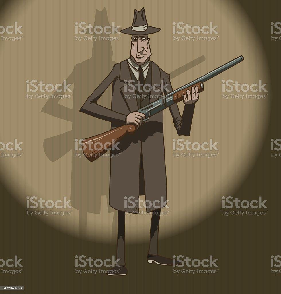 Mafiosi with a shotgun royalty-free stock vector art