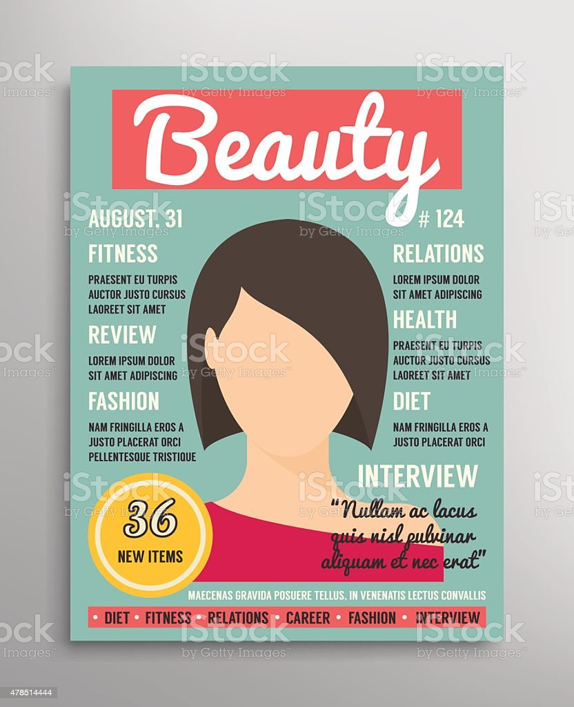Magazine cover template about beauty, fashion and health for women vector art illustration