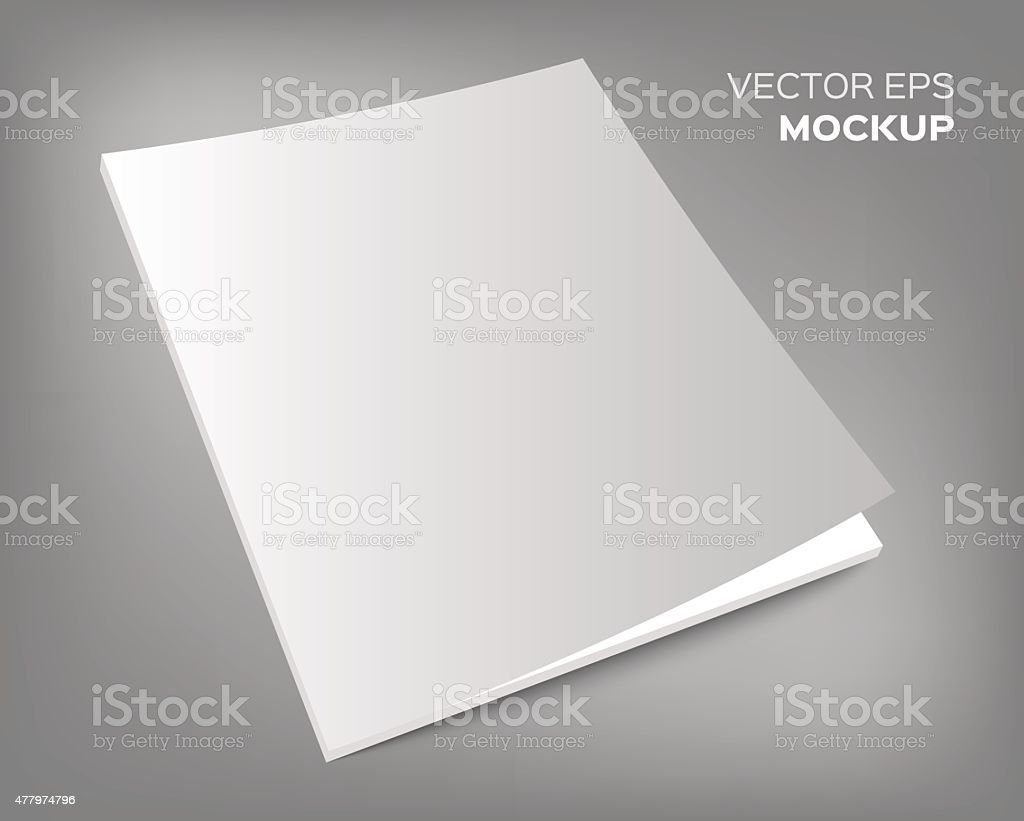 magazine mockup on grey background vector art illustration