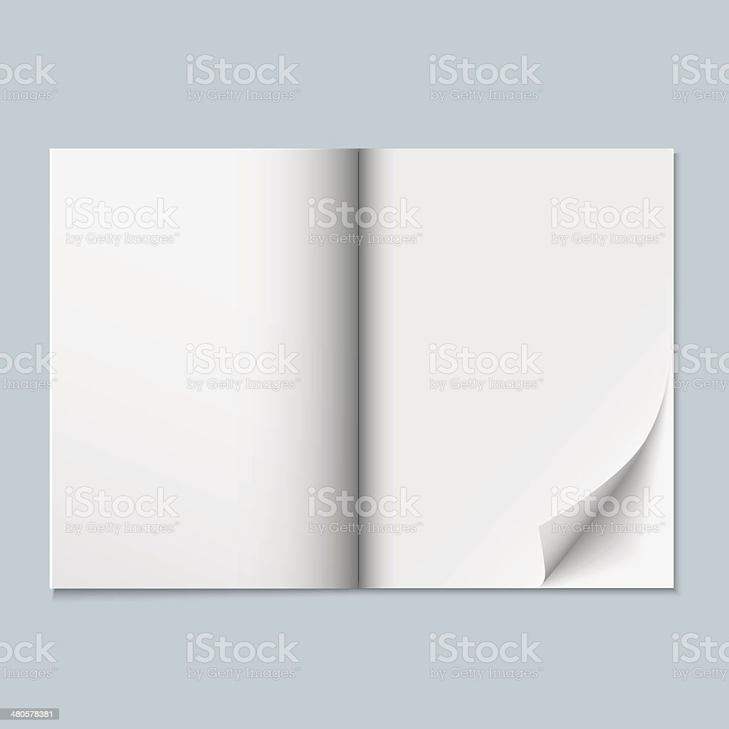 Magazine template with blank pages vector art illustration