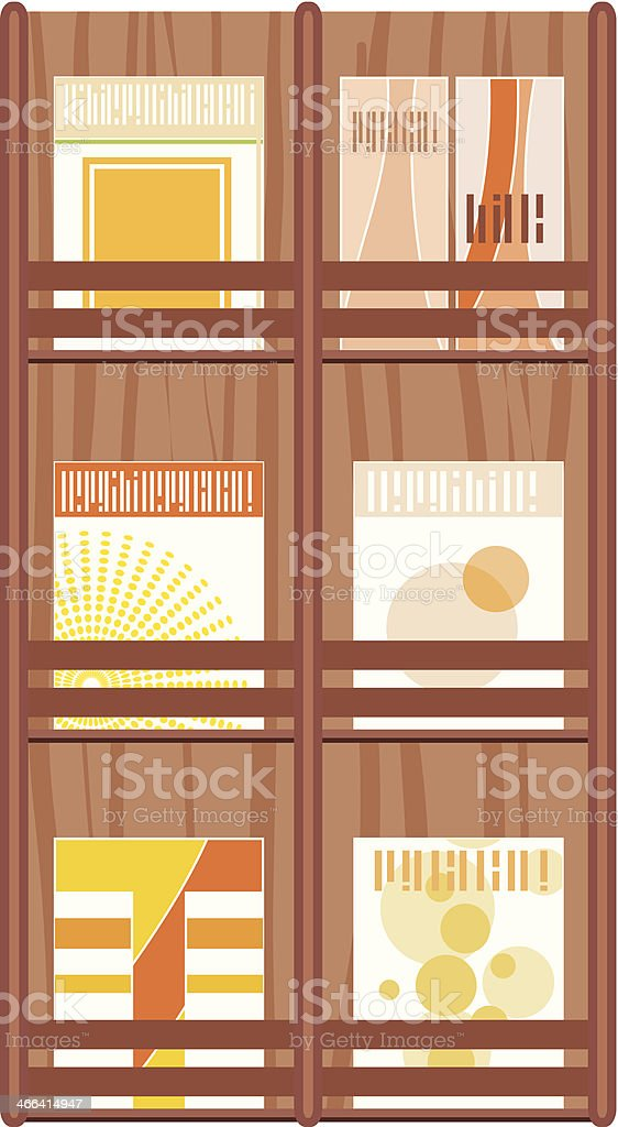 Magazine Wall Rack vector art illustration