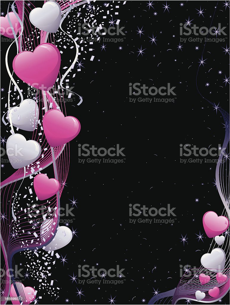 Magenta and Grey Valentine Heart Background Vertical royalty-free stock vector art