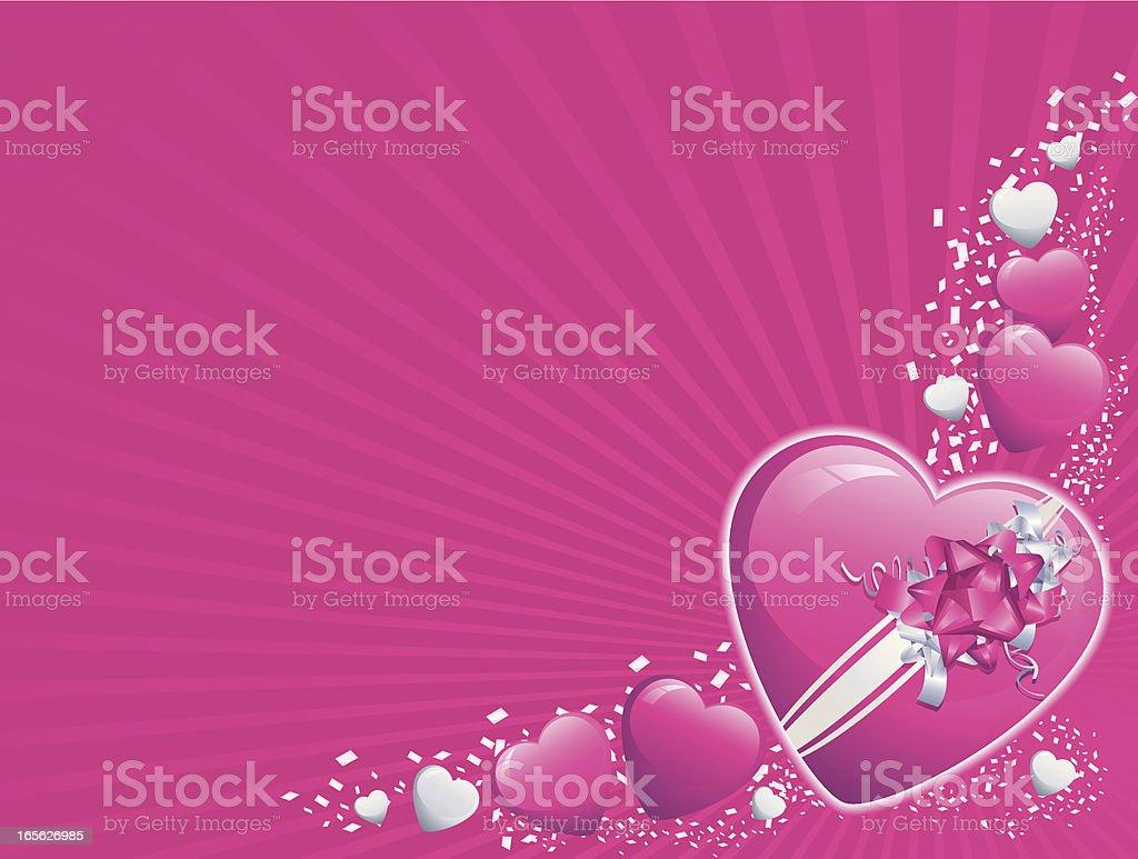 Magenta and Silver Valentine Heart Corner Background Horizontal royalty-free stock vector art