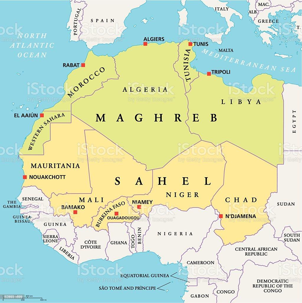Maghreb and Sahel Political Map vector art illustration