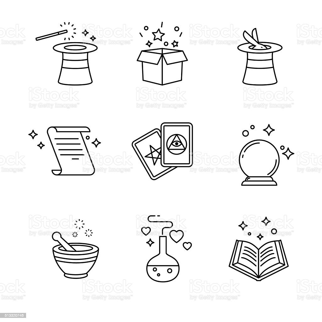Magic and magician tools. Thin line art icons set vector art illustration
