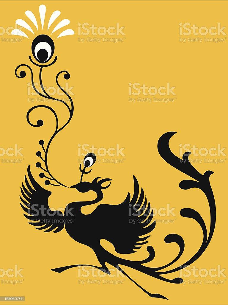 Magic Bird & Feather vector art illustration