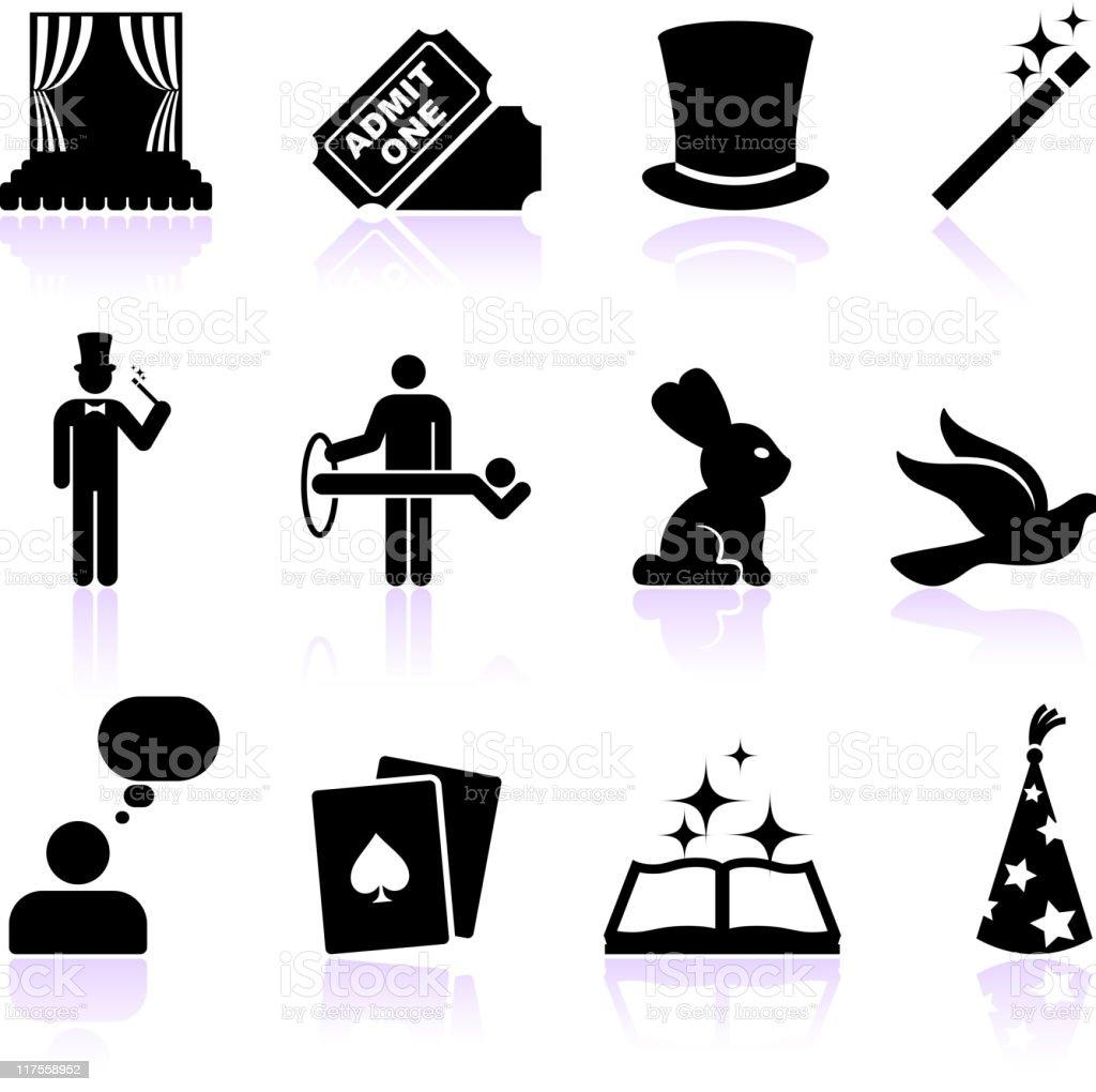 magic black and white icon set vector art illustration