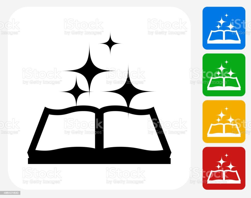 Magic Book Icon Flat Graphic Design vector art illustration