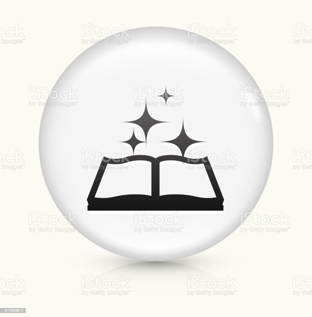 Magic Book icon on white round vector button vector art illustration