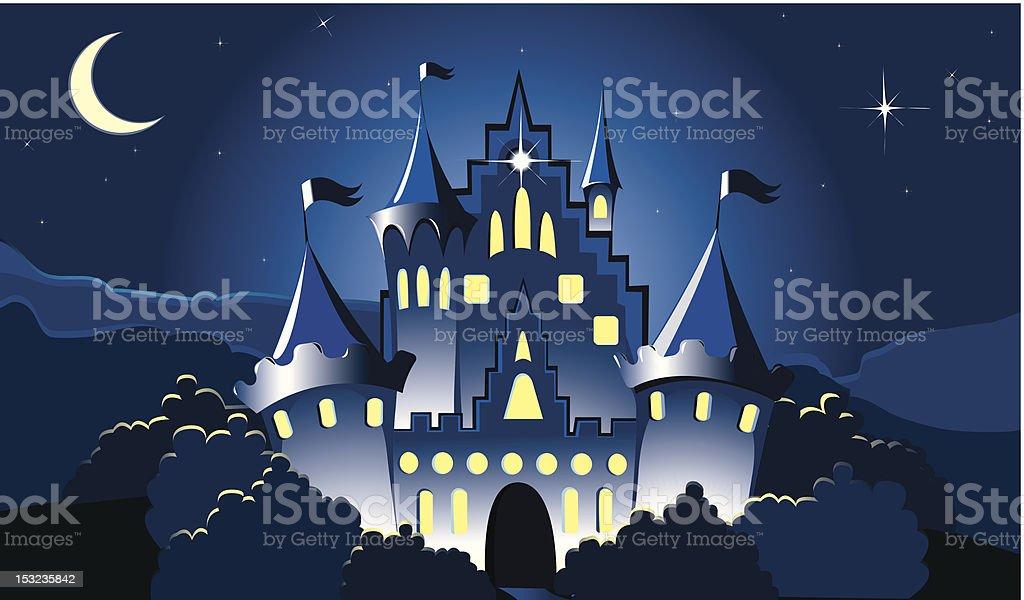 Magic Castle at night vector art illustration