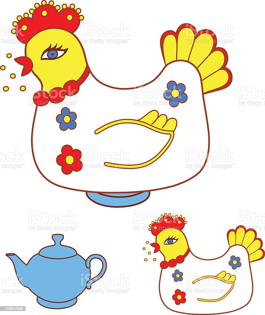 Magic chicken warmer for teapot vector art illustration