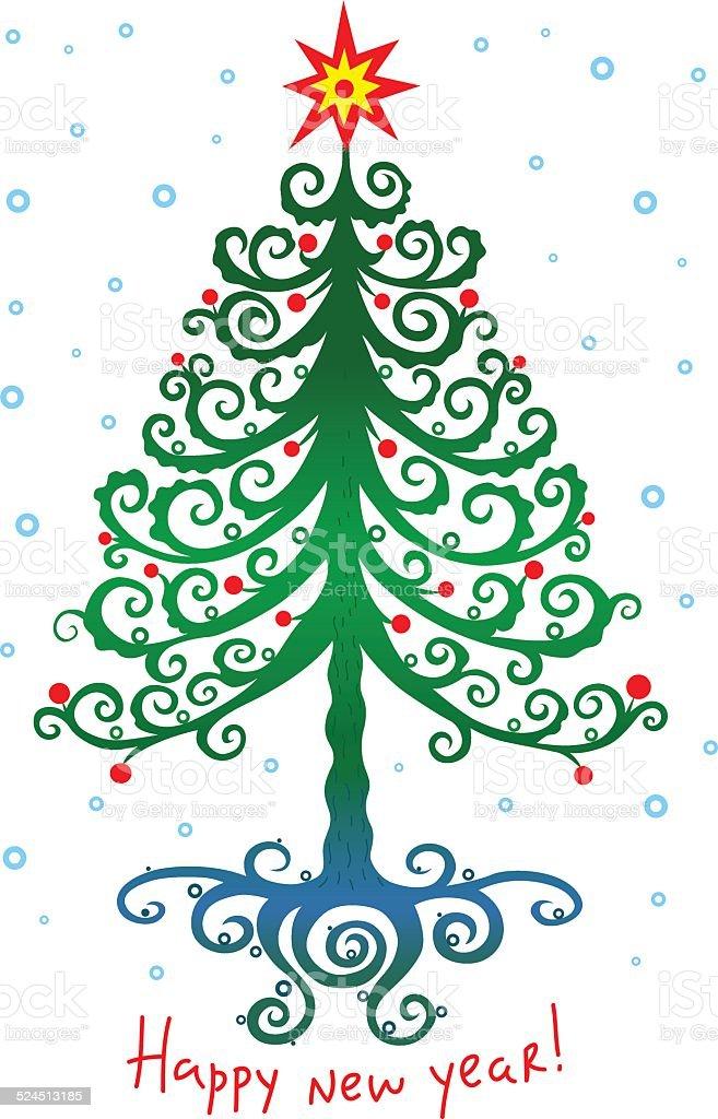 魔法のようなクリスマスツリーとスター 01 ロイヤリティフリーのイラスト素材