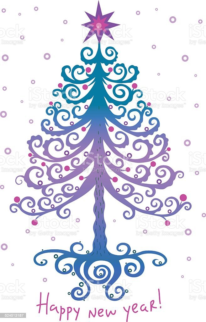 魔法のようなクリスマスツリーとスター 02 ロイヤリティフリーのイラスト素材