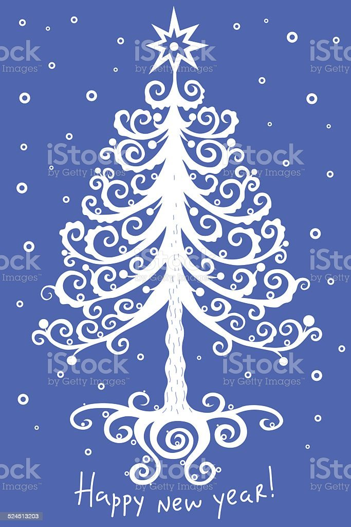 魔法のようなクリスマスツリーとスター 05 ロイヤリティフリーのイラスト素材