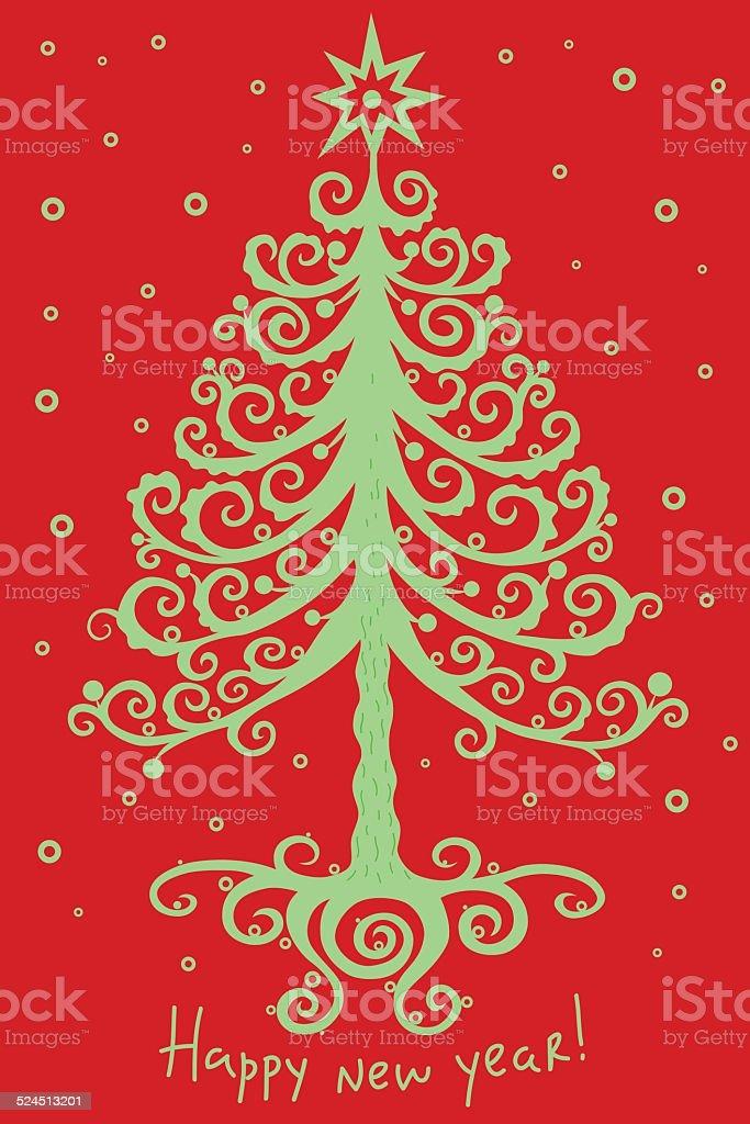 魔法のようなクリスマスツリーとスター 06 ロイヤリティフリーのイラスト素材