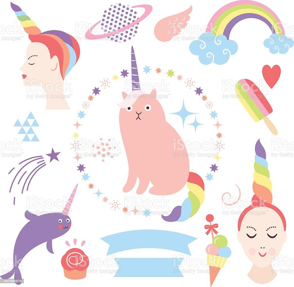 magic collection, cute unicorns vector art illustration