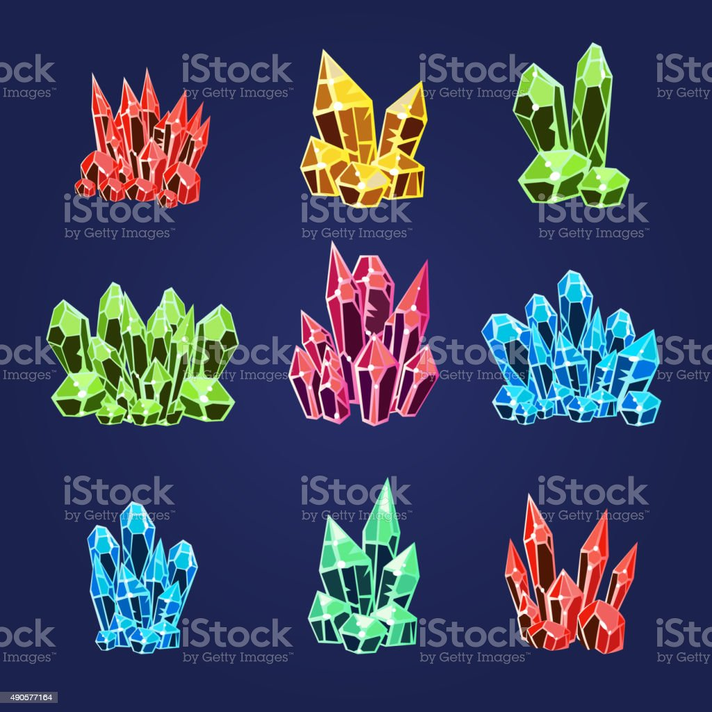 Magic Crystals Icons Set vector art illustration