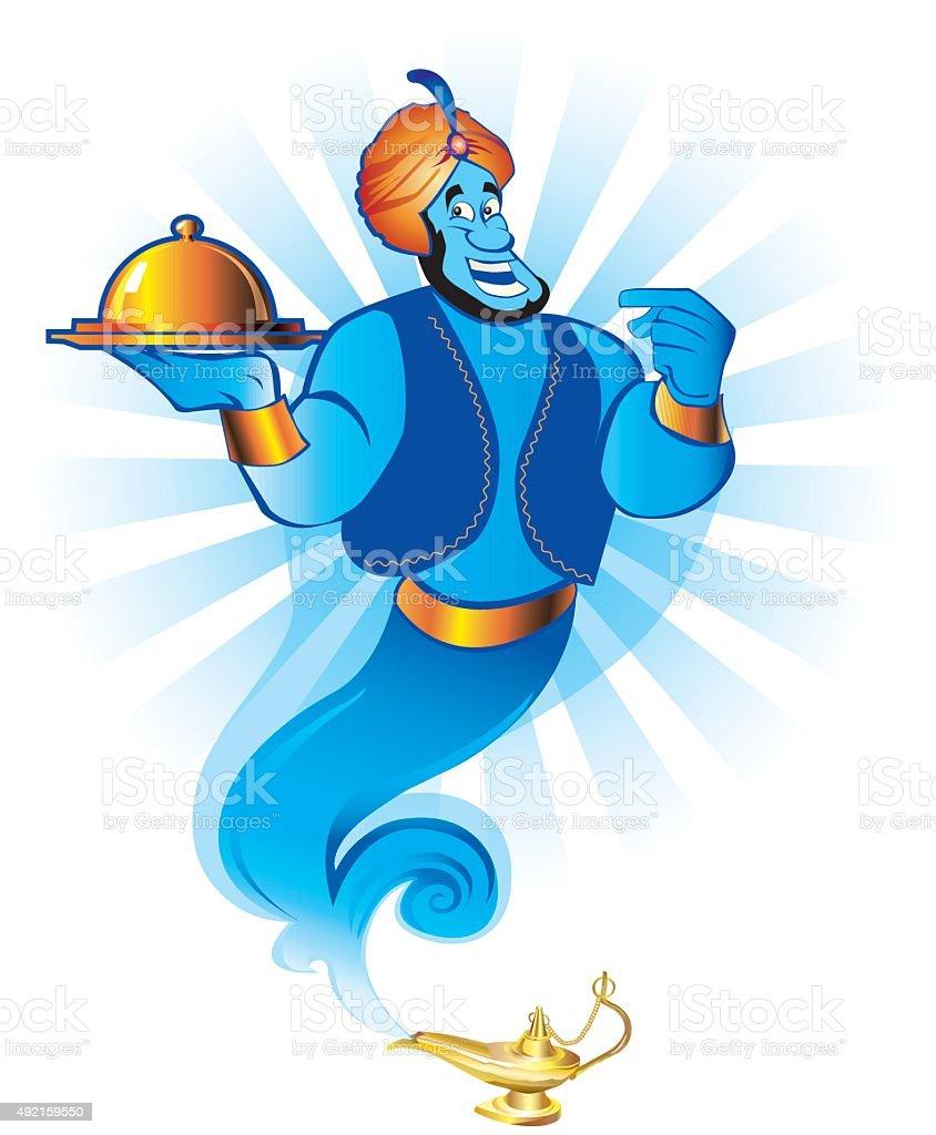 Magic genie granting the wish vector art illustration