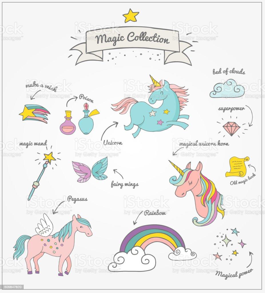 Magic hand drawn set - unicorn, rainbow and fairy wings vector art illustration