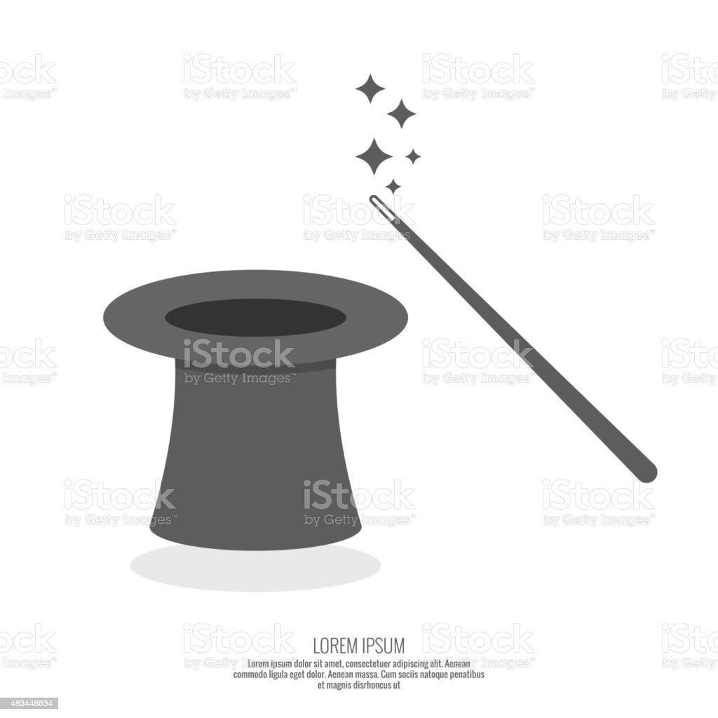 Magic hat and magic wand with sparkles vector art illustration