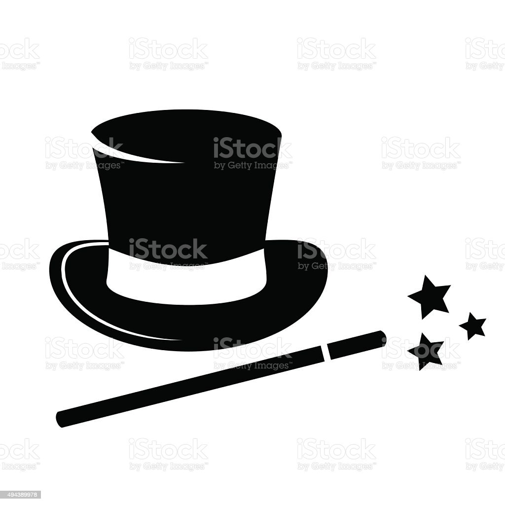 Magic hat and wand icon. vector art illustration