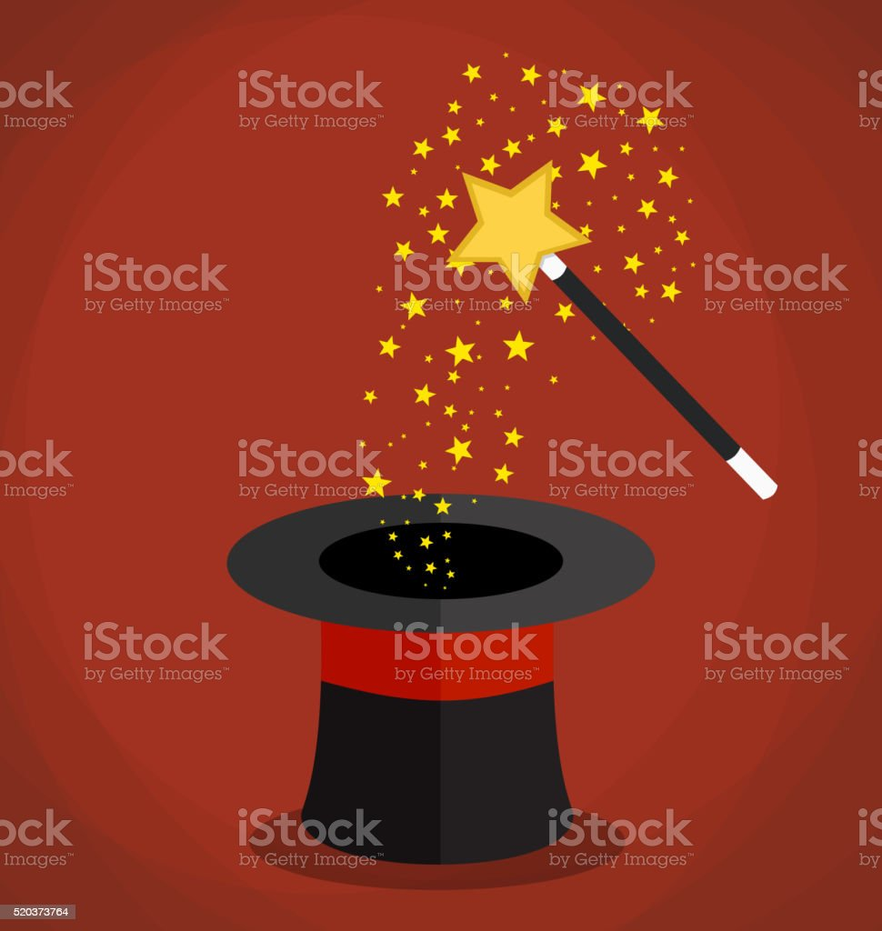 Magic hat and wand with sparkles, stars. vector art illustration