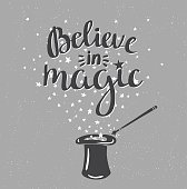 Magic Hat Background with stars and inspiring phrase.