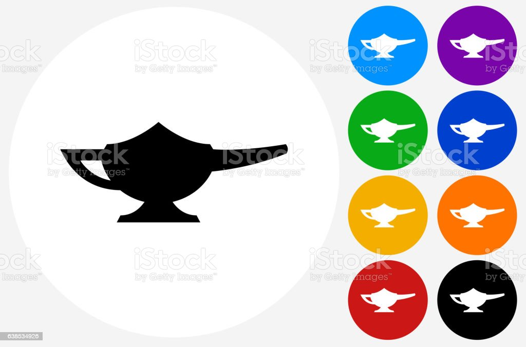 Magic Lamp Icon on Flat Color Circle Buttons vector art illustration