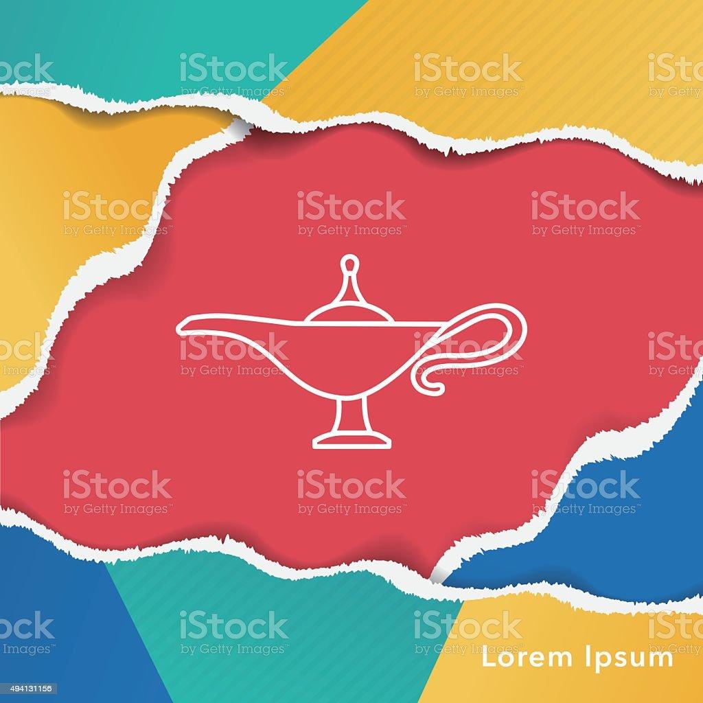 Magic Lamp line icon vector art illustration