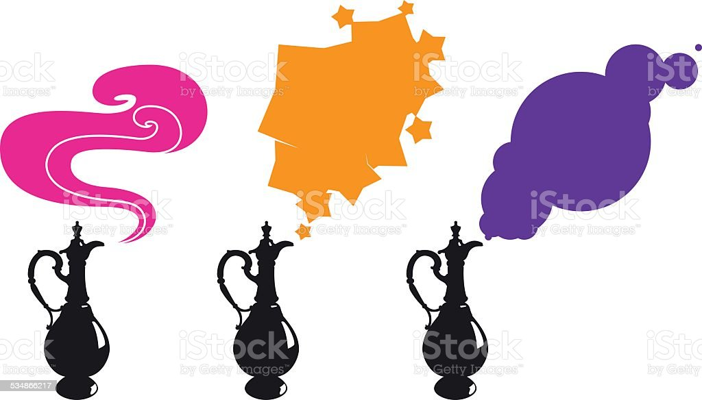 Magic lamp vector art illustration