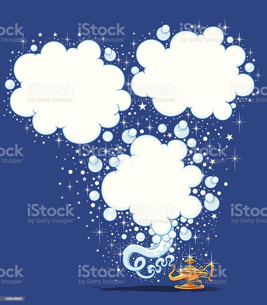 Magic lamp with cloud bubbles and sparkles vector art illustration