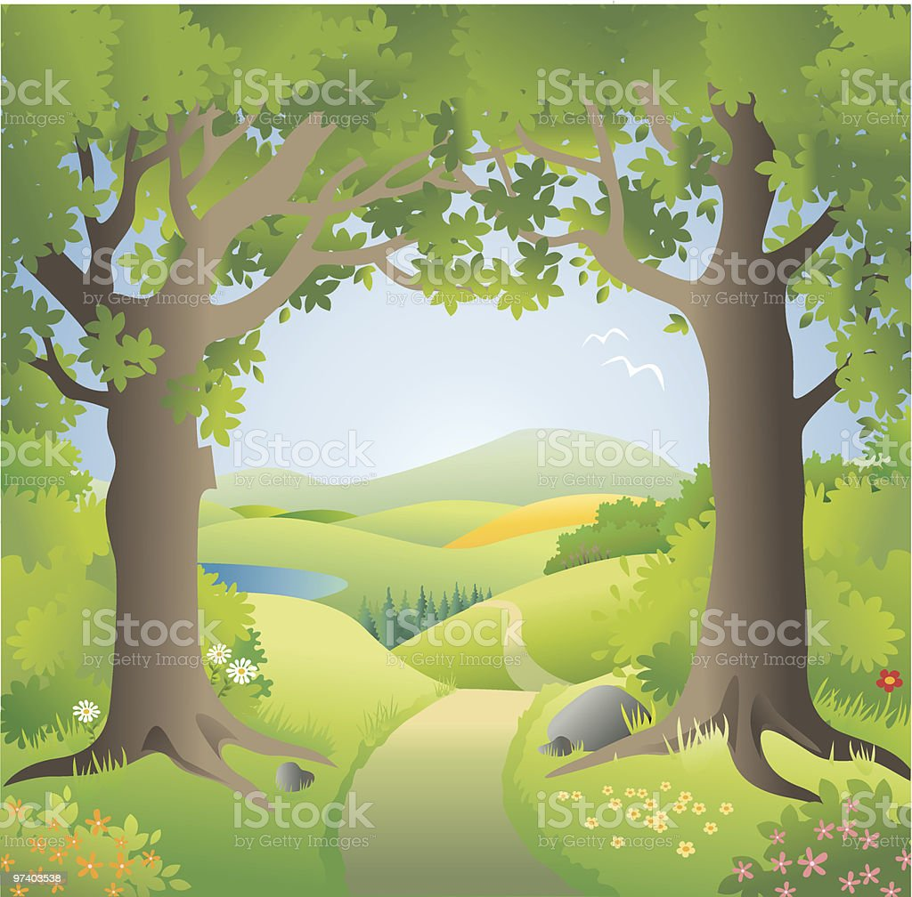 Magic landscape entrance vector art illustration