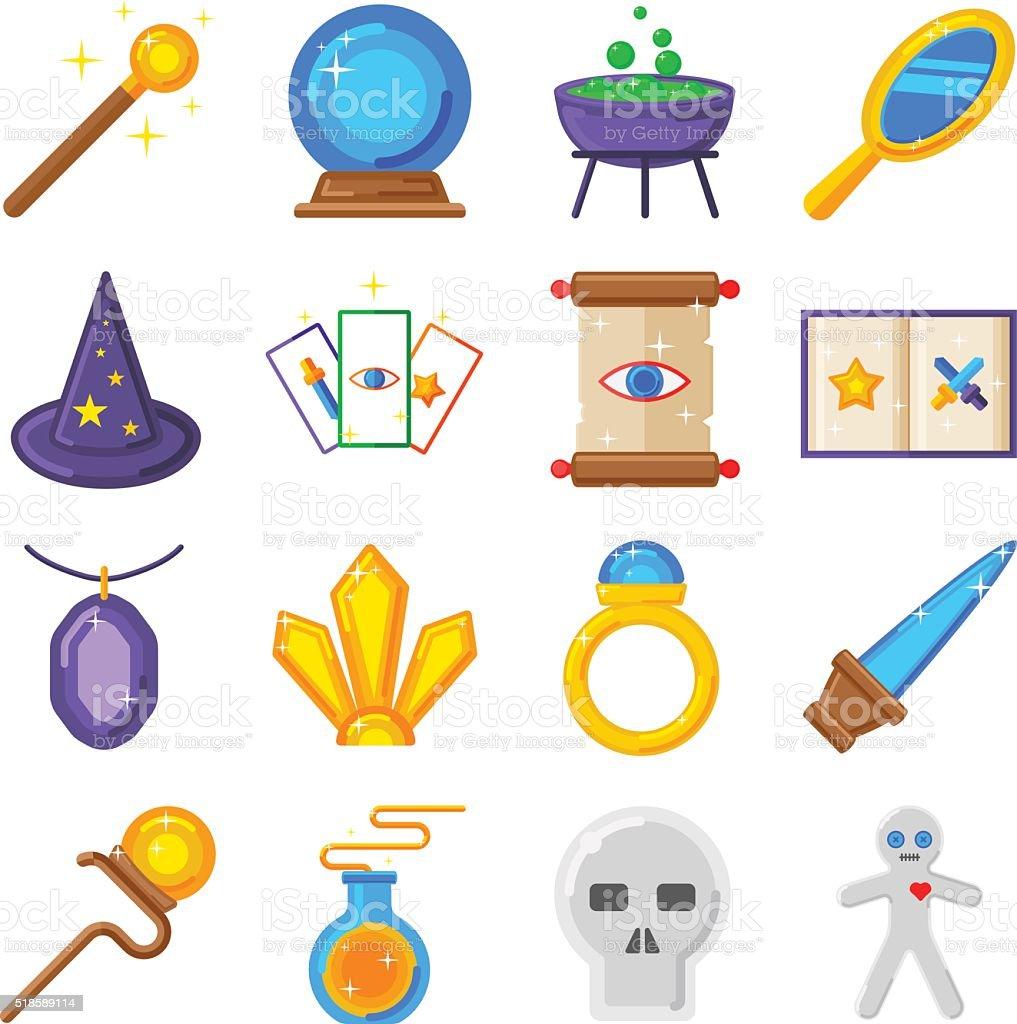 Magic performance decorative icons set magician vector vector art illustration
