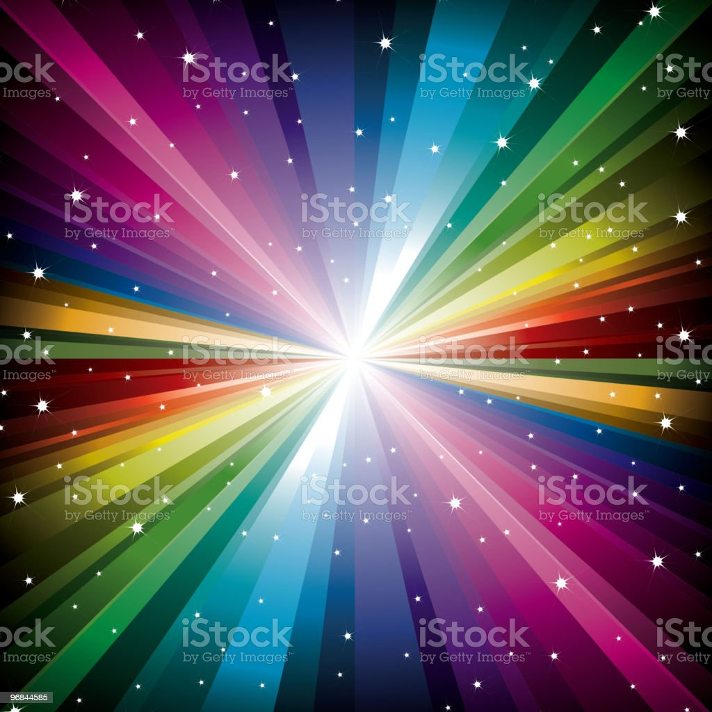 Magic radial Rainbow Light with white Stars royalty-free stock vector art